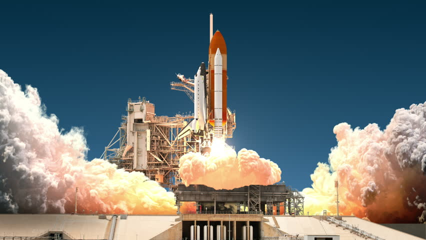 Space Shuttle Launch. Realistic 3D Animation. 4K. Ultra High Definition. 3840x2160.