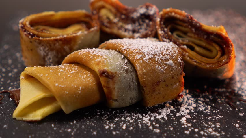 Amazing French Crepe fresh baked pancake with melted chocolate | Shutterstock HD Video #24200620