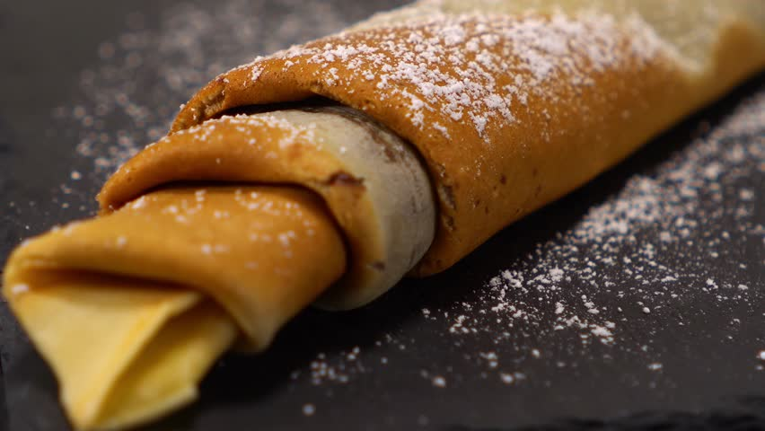 A speciality from France - French Crepes or pancakes with chocolate | Shutterstock HD Video #24200908