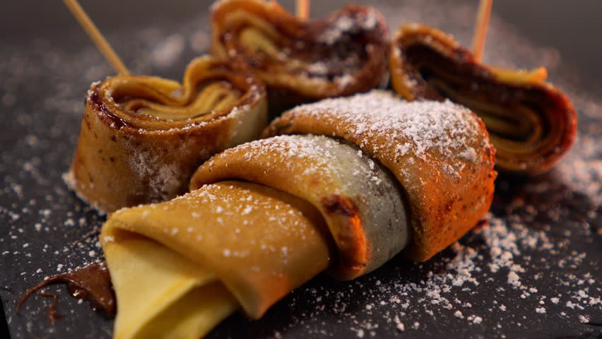 A speciality from France - French Crepes or pancakes with chocolate | Shutterstock HD Video #24200953