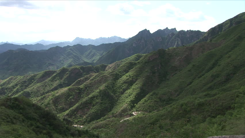 View of lush green mountains in Beijing China
