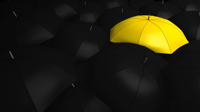 Conceptual animation, Crowd with umbrella with 1 unique color.