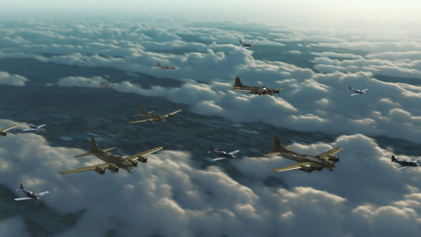 Bombers Squadron Flying Over the Clouds
