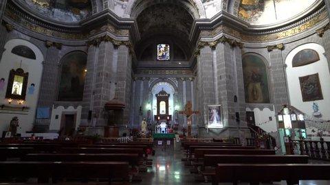 Mexico City, FEB 18: Pan movment of Interior of the historical church - Iglesia de Nuestra Senora de Loreto on FEB 18, 2017 at Mexico City, Mexico