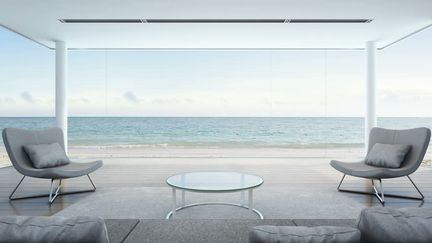 Living room in beach house, Modern luxury interior with sea view - 3D rendering