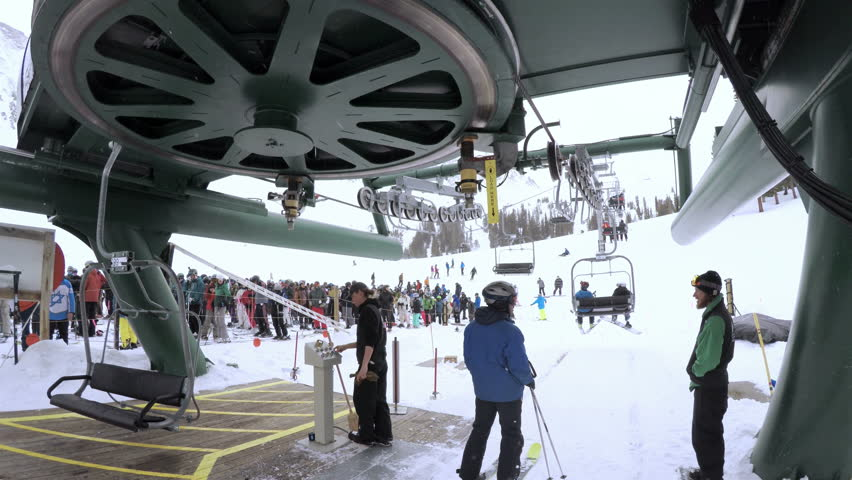 Denver, Colorado, USA-February 11, 2017. At the chairlift on Arapahoe Basin ski resort. | Shutterstock HD Video #24244595