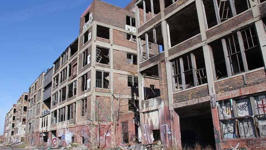 DETROIT, MICHIGAN - NOV 21: Abandoned Packard factory ruins on a sunny afternoon