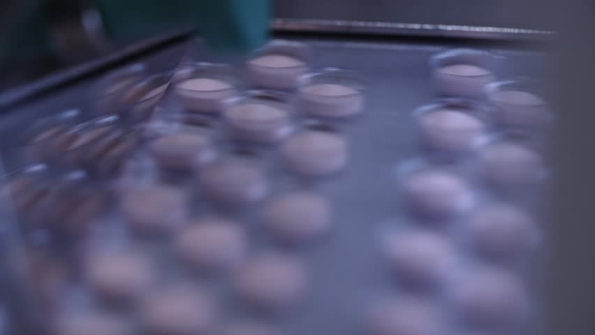Automated packing at drug production. Closeup slow motion shot of an automated pill packaging machine.Tablets in Packages on a Conveyor. Pharmaceutical machinery for medicine production Pills. | Shutterstock HD Video #24266423