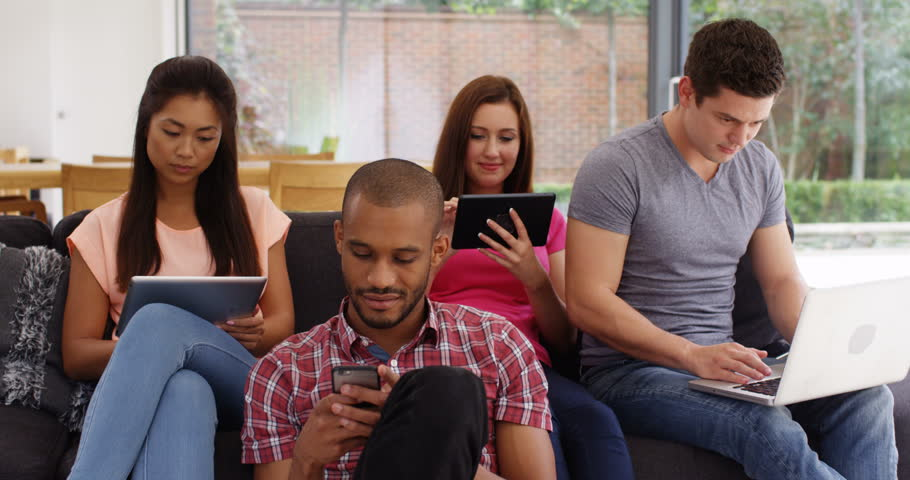 4k, Group of young people using technology. | Shutterstock HD Video #24308345