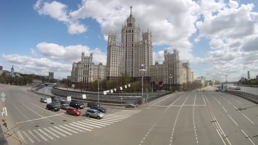MOSCOW - APR 30: (Timelapse View) Stalin skyscraper stands at intersection of two highways on embankment, on April 30, 2012 in Moscow, Russia. House in 1938-1940, 1948-1952 was under construction