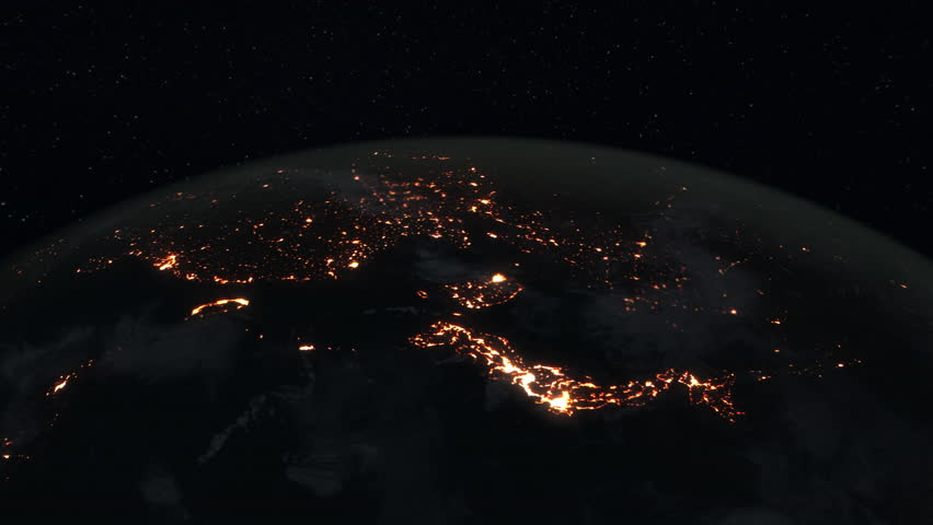 Loopable: Earth Globe. Simulated orbital space flight over the surface of the night planet Earth (South America, Japan, Russia, China, India, Arab World, Europe and Africa). (av36033c) | Shutterstock HD Video #24335249