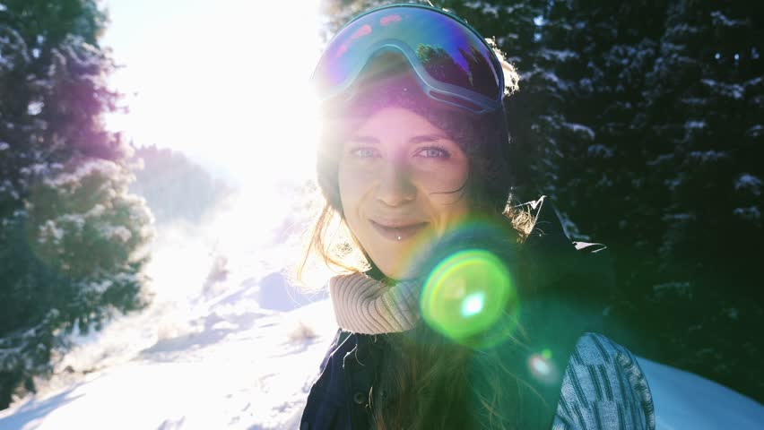 Footage of snowboarder woman adventure, walking to snowy mountains. Snowboard and ski healthy activities, hiking | Shutterstock HD Video #24343493
