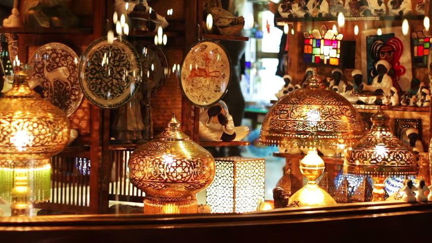 EGYPT, SOUTH SINAI, SHARM EL SHEIKH, NOVEMBER 28, 2016: Beautiful storefront.Beautiful storefront with interesting lamps and souvenirs. Soho square. | Shutterstock HD Video #24351854