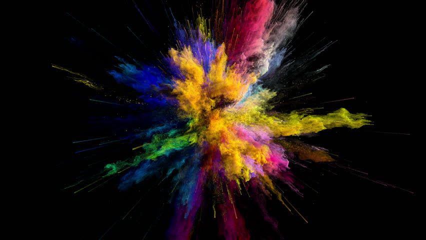 Cg animation of color powder explosion on black background. Slow motion movement with acceleration in the beginning. Has alpha matte | Shutterstock HD Video #24364172