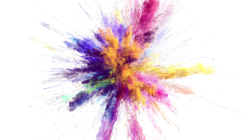 Cg animation of color powder explosion on white background. Slow motion movement with acceleration in the beginning. Has alpha matte | Shutterstock HD Video #24364178
