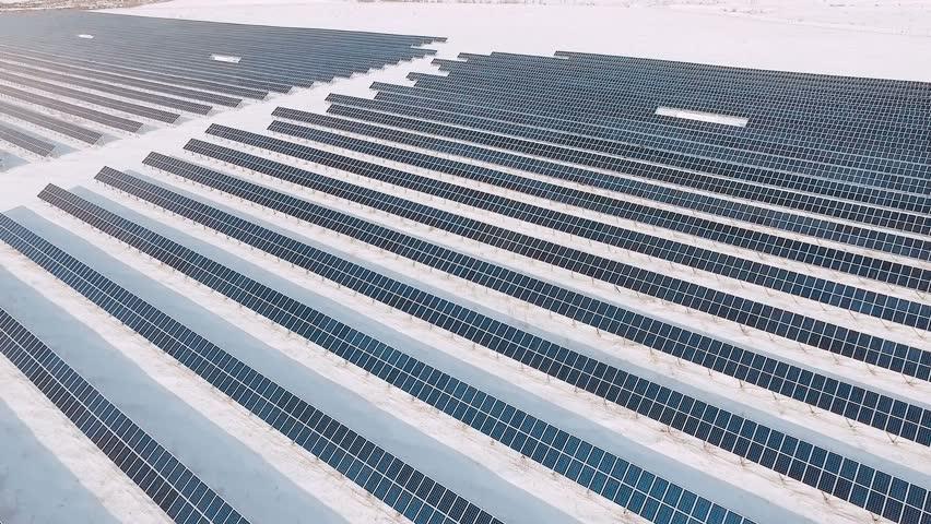 Frozen solar panels