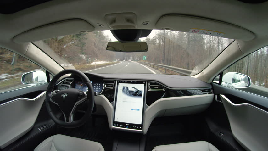 AUTONOMOUS TESLA CAR, FEBRUARY 2016:  Absolutely autonomous self-driving Tesla Model S autopilot and trully driverless car with empty seat and no driver. Next gen ultrasonic sensors, cameras and rada