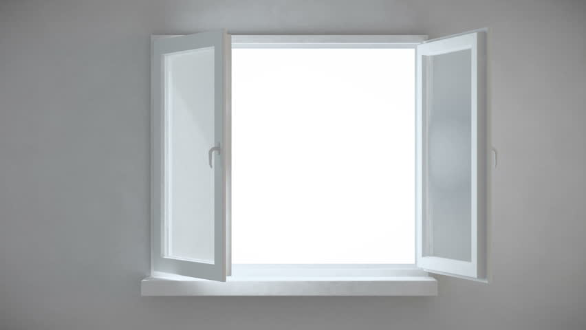 An interior view of an opening window