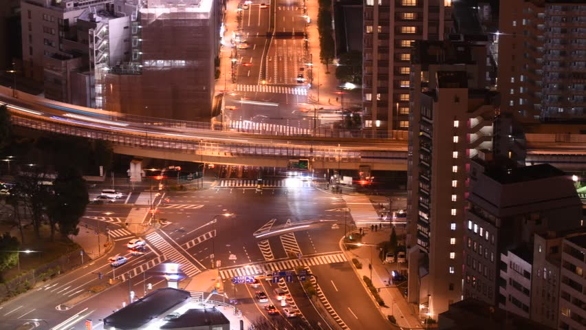 Time lapse for bird eye view of junction traffic in Tokyo | Shutterstock HD Video #24401837