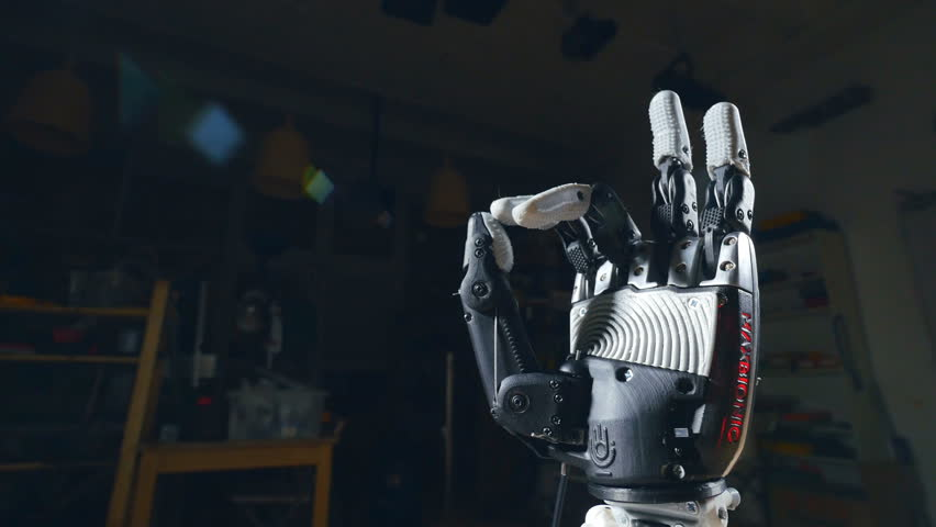 Cyber hand, robotic arm showing - ok, positive sign.