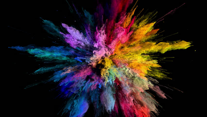 Cg animation of color powder explosion on black background. Slow motion movement with acceleration in the beginning. Has alpha matte Royalty-Free Stock Footage #24419024
