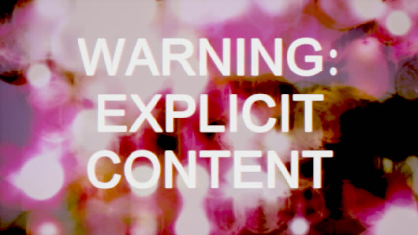 The text Warning Explicit Content appears over a set of spinning circles with a lens flare at the beginning. Dotty grindhouse low-budget b-movie style.  | Shutterstock HD Video #24431264