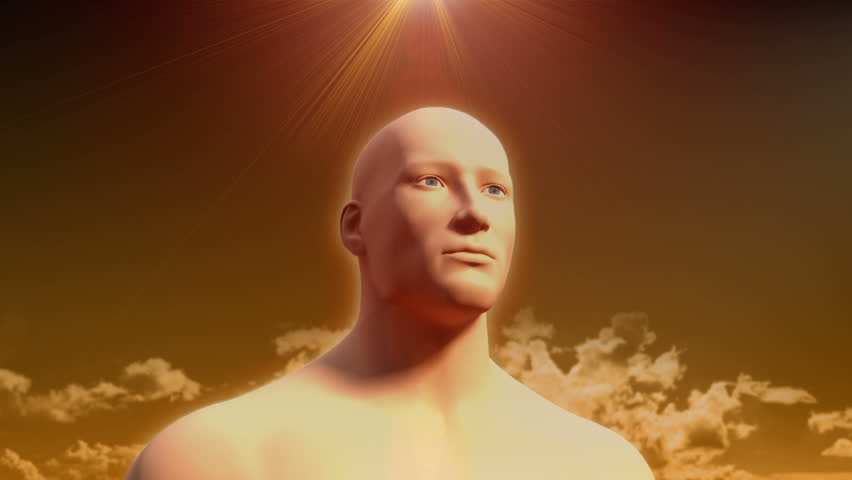 Human man head neck in thought transparent body showing internal organs transition to skin with god rays sun light gold sky cloud spirit intelligence think awareness perception 3D CG model animation   Shutterstock HD Video #2443226