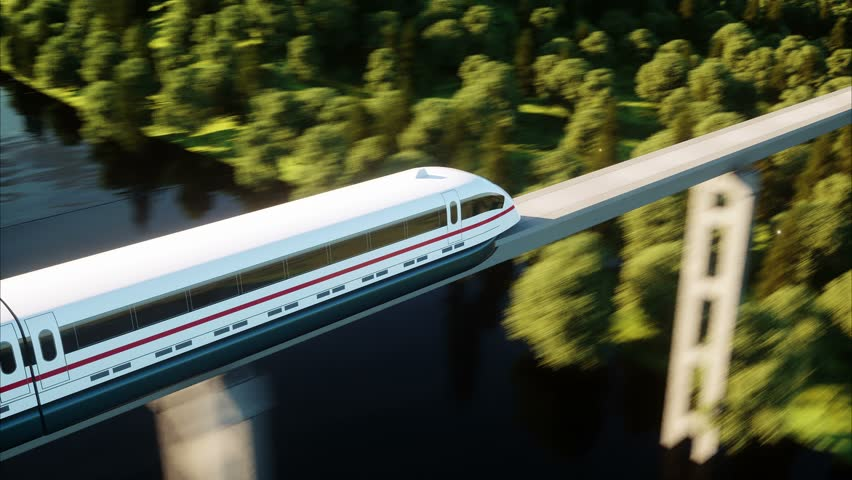 Futuristic, modern train passing on mono rail. Ecological future concept. Aerial nature view. photorealistic 4K animation.