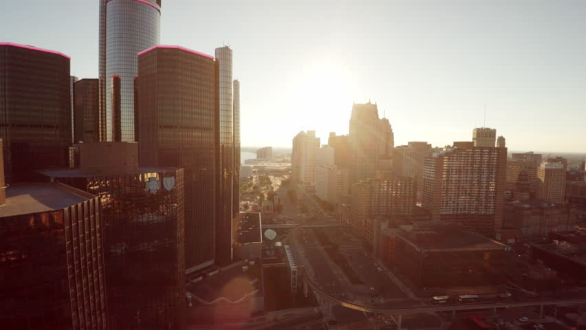 Aerial view of Detroit skyline during sunset