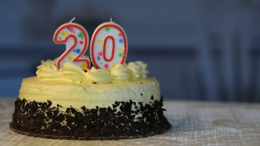 Admirable Birthday Cake With 20 Candles Stock Footage Video 100 Royalty Personalised Birthday Cards Sponlily Jamesorg