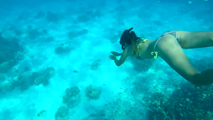 Beautiful Woman Diving Underwater. Snorkeling Girl Swimming in Blue Cristal Clear Water. HD. Similan, Thailand.