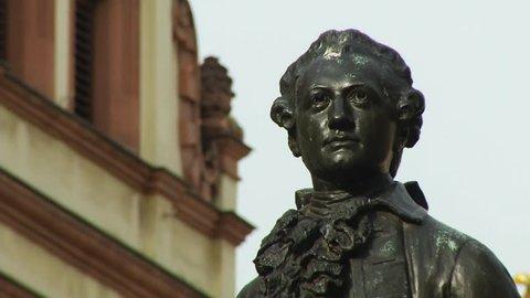 public Johann Wolfgang von Goethe statue Leipzig (Germany), Naschmarkt, March 2017