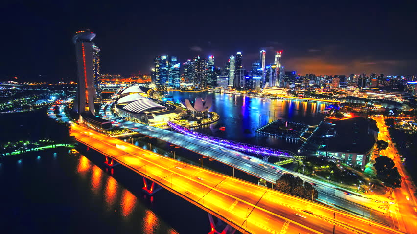 Time lapse scenery singapore city at night light singapore flyer famous | Shutterstock HD Video #24491597