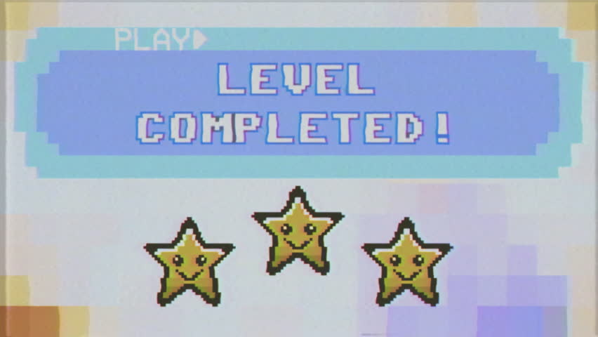Fake VHS shot: a videogame screen, 8 bit retro style, saying Level completed; smiling stars over a pixel animation.