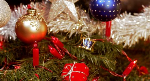 A Christmas tree and decorations