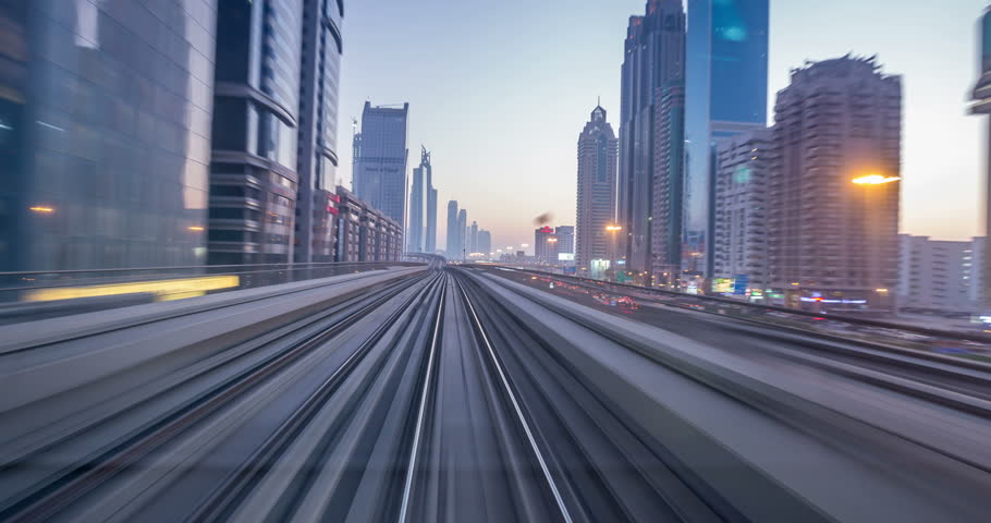 Time lapse journey on the modern driverless Dubai elevated Rail Metro System, running alongside the Sheikh Zayed Road