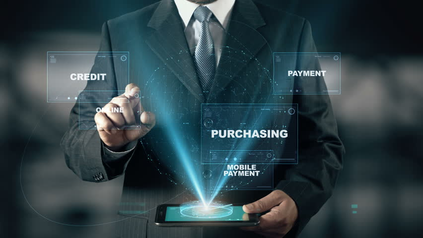 Businessman with Mobile Shopping hologram concept choose Online from words | Shutterstock HD Video #24524801