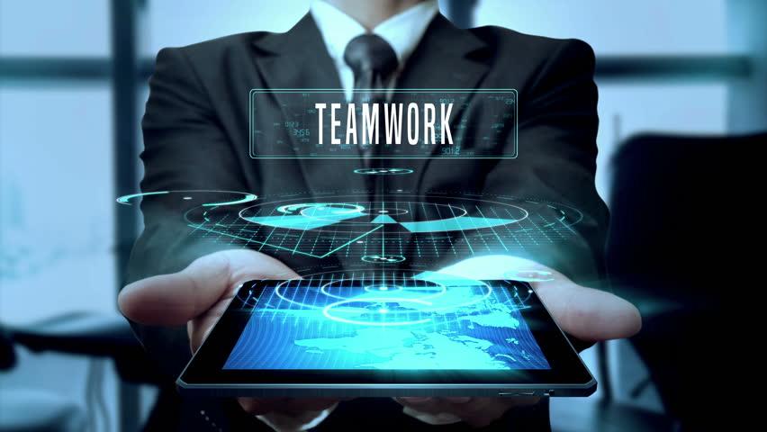 Teamwork Planning Strategy Innovation Concept Businessman Using Hologram Tablet Technology - Loop | Shutterstock HD Video #24538616
