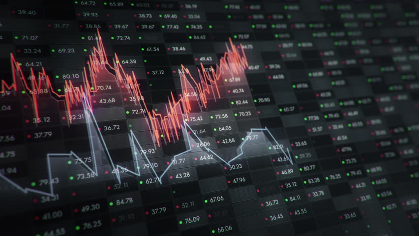Abstract background with animation of growth graph of stock market on screen of trading board with abstract quotes tickers, words about business or technology, binary code. Animation of seamless loop. | Shutterstock HD Video #24539999