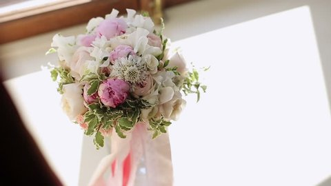 Wedding flowers bouquet on white background