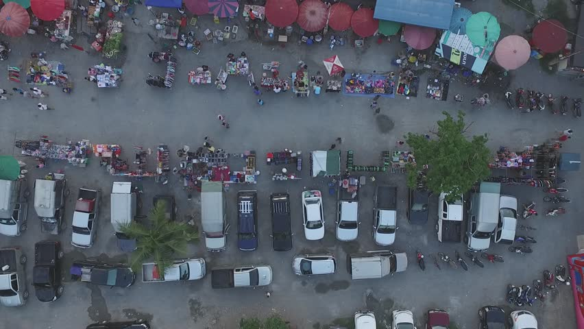 Thailand  Rural market,  aerial photography, red umbrella, people, life, #24579875