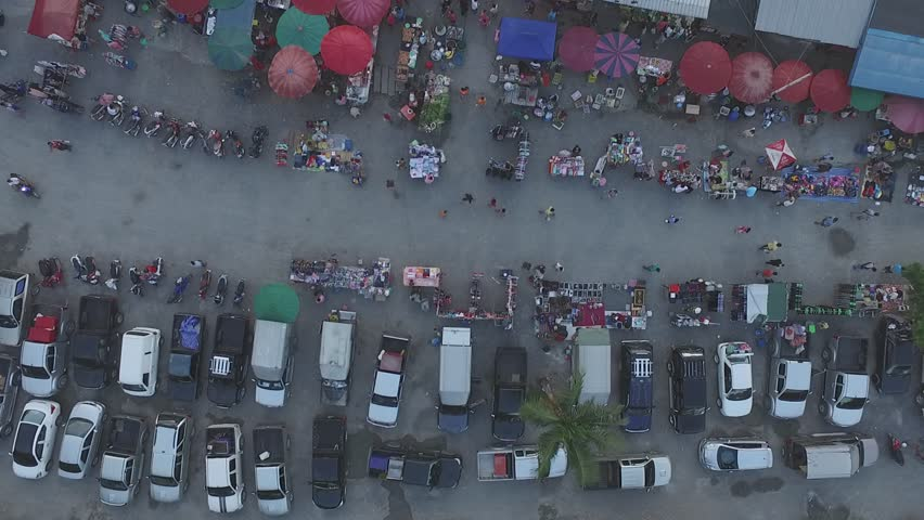 Thailand  Rural market,  aerial photography, red umbrella, people, life, #24579896