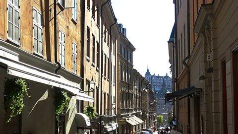 STOCKHOLM, SWEDEN - SUMMER 2016: A cozy cafe in the heart of Stockholm. Sweden.