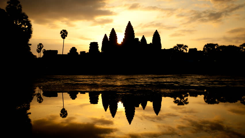Timelapse of Sunrise over Angkor Wat in Cambodia