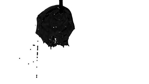 Flow of black paint like oil splattering on white background and dripping down over white. 3d render with alpha mask for background, transition or overlays