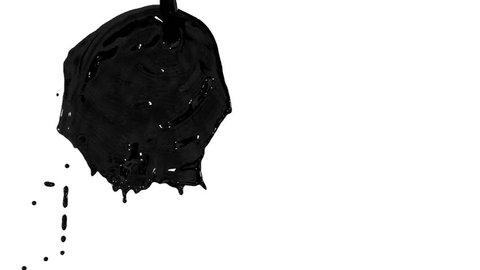 Flow of black paint like oil splattering on white background and dripping down over white.