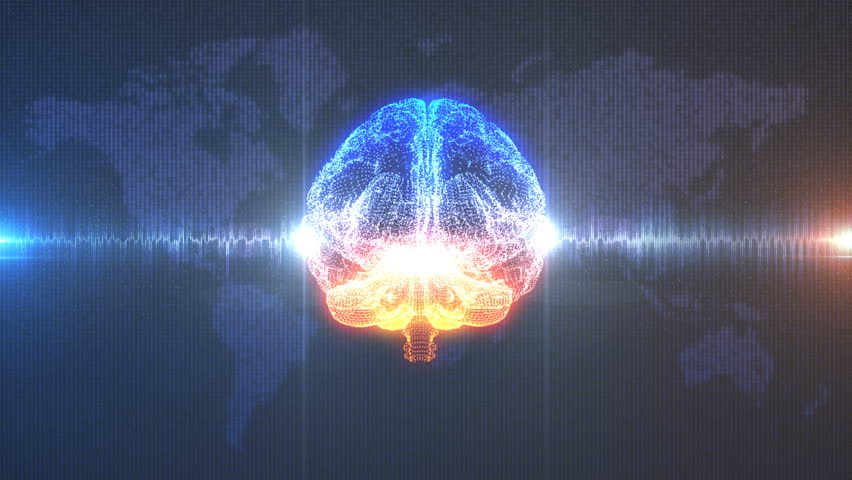 Brainstorm - animated 3d model of human brain against digital background of Earth map as data and a pulsing electrical brainwave.