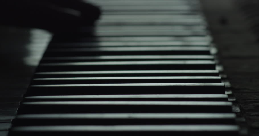 Piano Keyboard, Black and White. Slow Motion