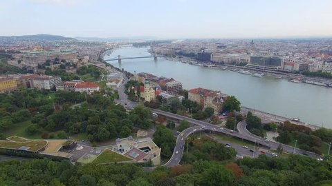Aerial view of Budapest across Danube River