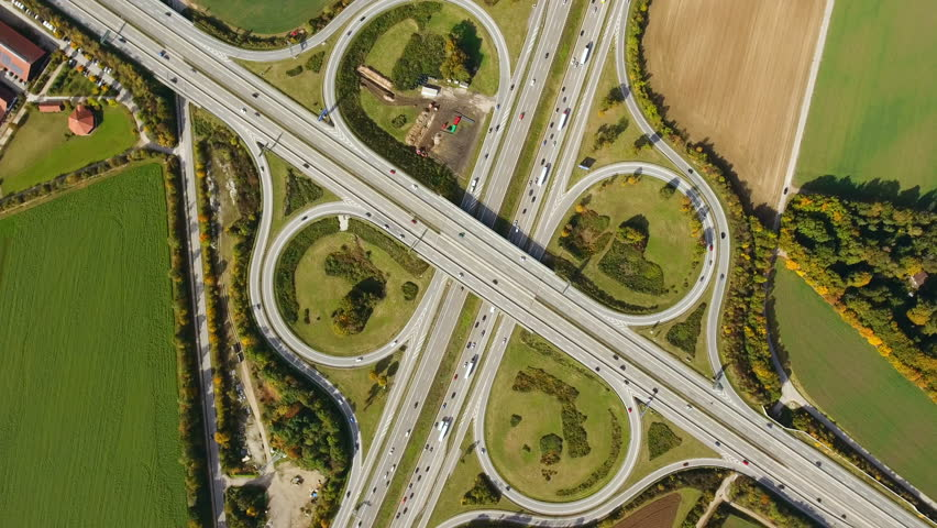 Aerial view of intersecting highways near Munich, Bavaria. Going up, turning #3.